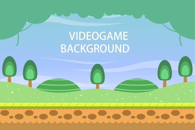 扁平游戏场景设计矢量树木草地场景素材下载_flashmg.