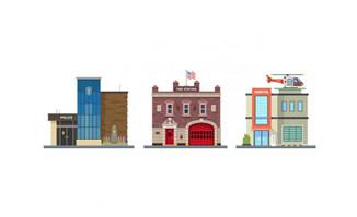 美国扁平化城市建筑房屋
