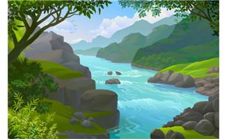 山川山林中河流自然风景
