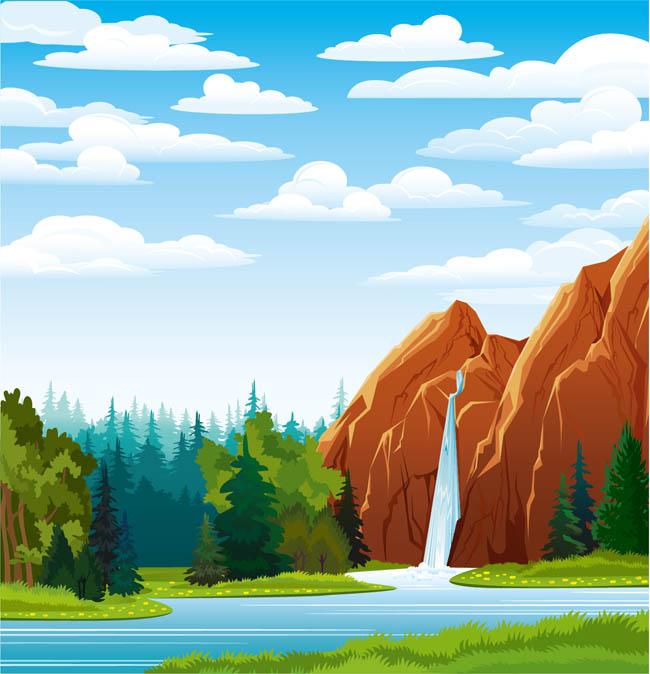 动漫动画卡通山石流下的瀑布场景设计矢量素材
