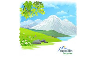 远处的雪山自然风景雪山