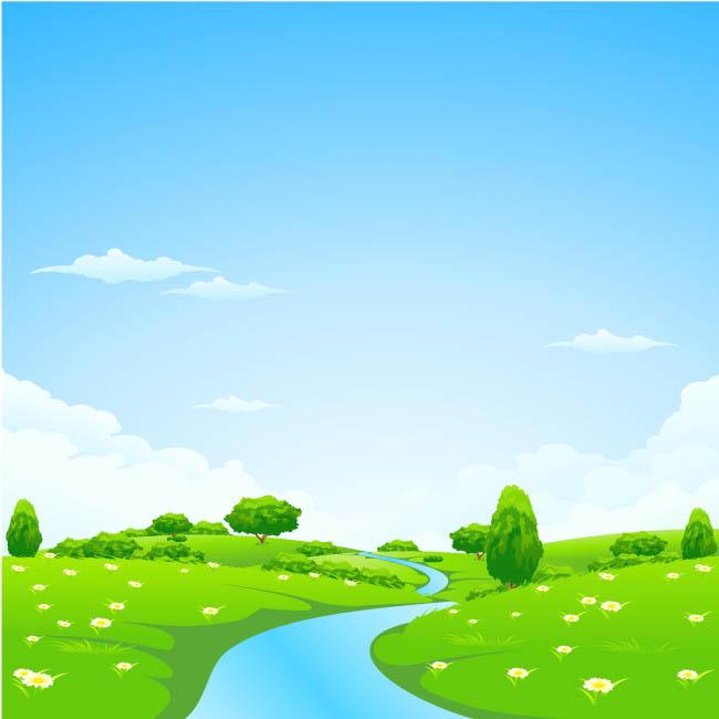卡通蓝天白云绿地草地小溪流水场景设计素材