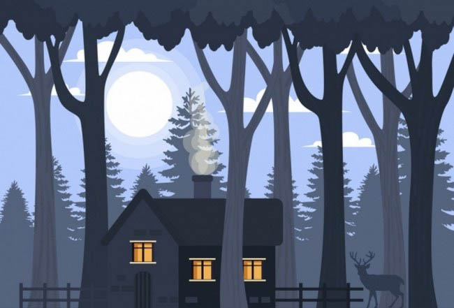 森林人家创意剪影设计森林场景设计素材