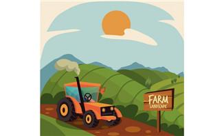 在农场作业的拖拉机海报