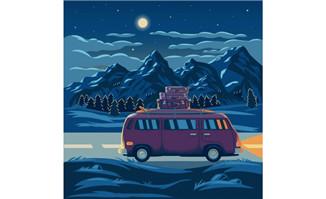 装满行李旅游的车辆在夜