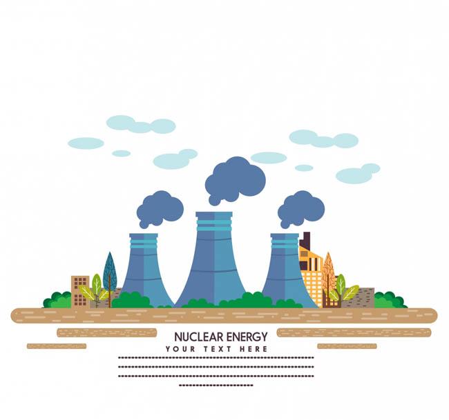 扁平化核电厂建筑场景房屋设计矢量素材
