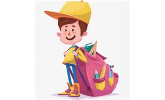 背着一个大书包的小男孩