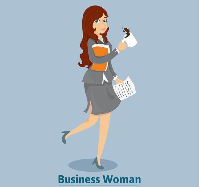 边喝边走路的商务女士职业女性卡通形象设计素图片