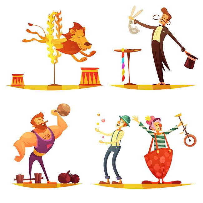 杂技表演的人物形象设计扁平卡通人物形象设计