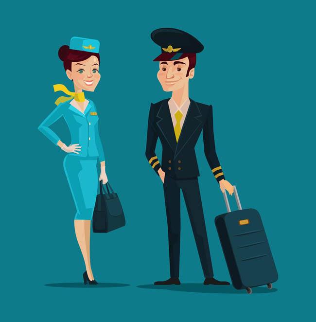 空姐卡通_空乘工作人员机长空姐卡通动漫形象设计素材