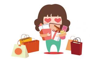 购物节女孩疯狂购物的扁