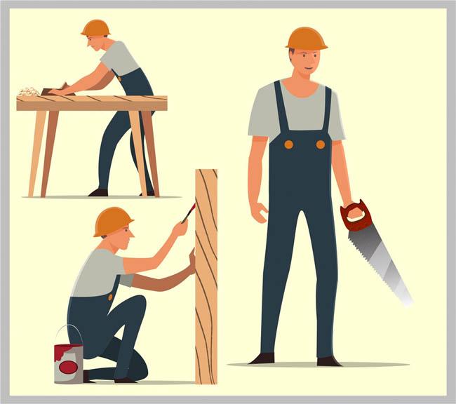 木工师傅木匠卡通动漫形象设计矢量素材