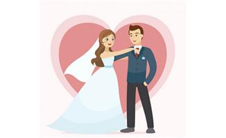 婚礼上的新人扁平化卡通