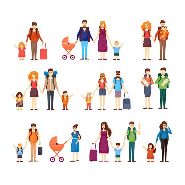 一家人准备出去旅行的卡通形象人物设计_漫品购-mg--.