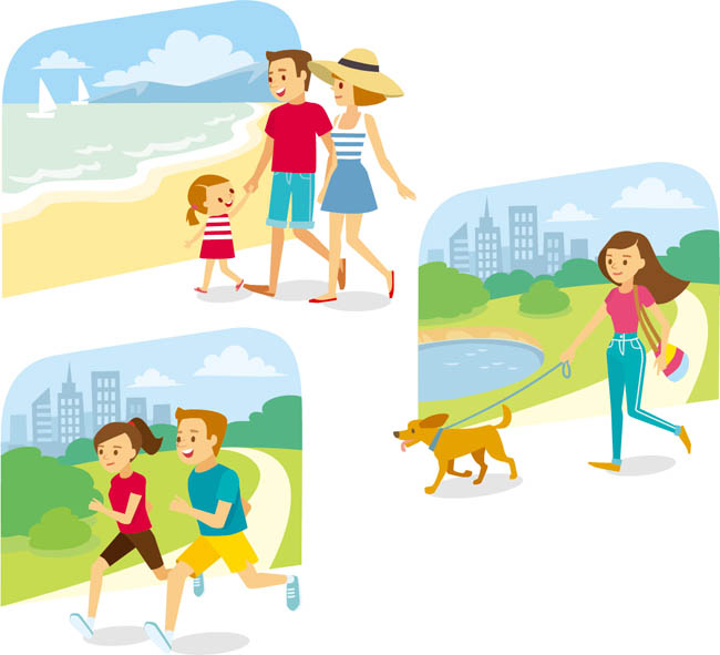 主页 矢量文件 矢量人物 > 在公园运动休闲的一家人卡通形象设计素材