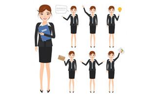 女职业人物形象设计矢量