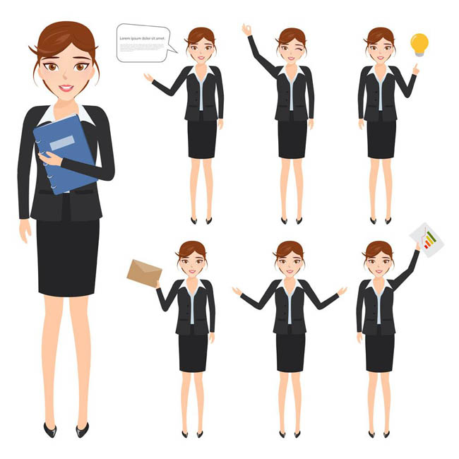 女职业人物形象设计矢量素材  职业女性插画图片  动漫职业女孩