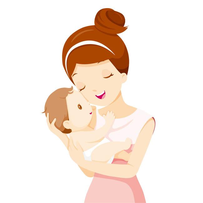 妈妈抱着宝宝在睡觉的姿势动漫形象设计