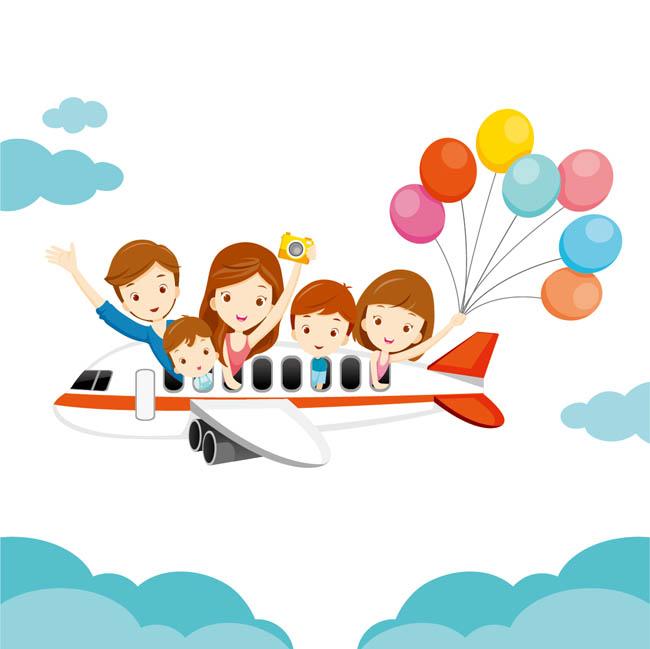 卡通坐飞机出去旅行的动漫人物形象设计素材