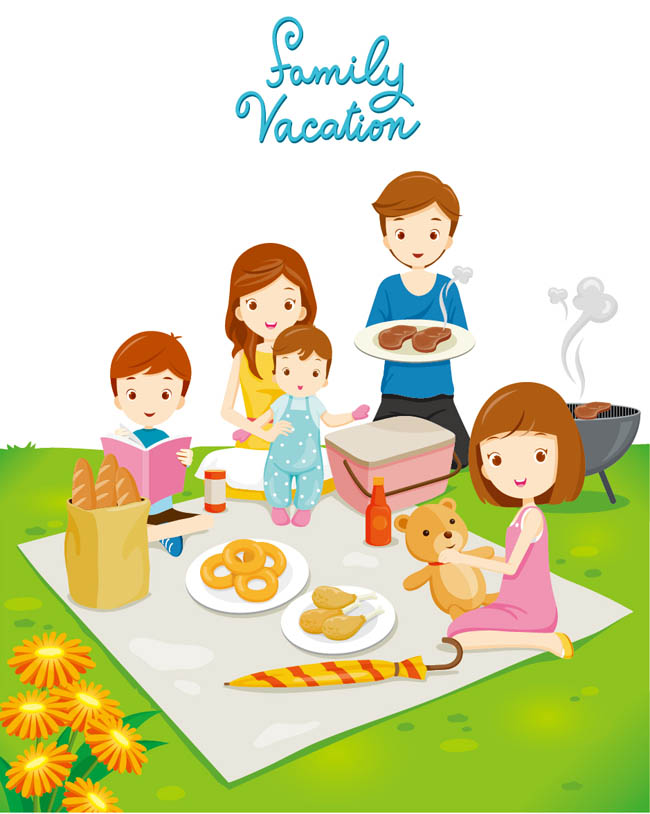 野炊户外郊游的一家人卡通形象设计素材  户外野餐的家庭卡通人物矢量