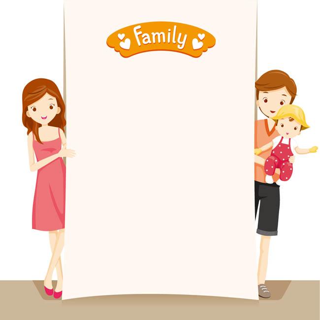 温馨爸爸妈妈宝宝一起拍照的场景设计卡通形象