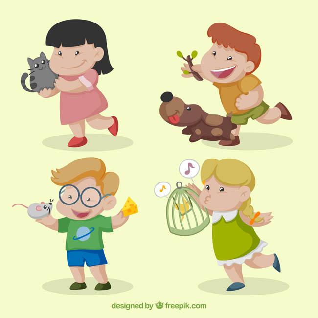 卡通儿童跟小动物一起玩耍的动作_漫品购-mg动画制作