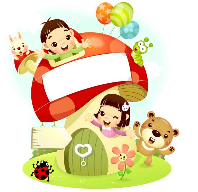 蘑菇房屋里面玩耍的卡通儿童插画设计  捉迷藏的孩子们图片素材