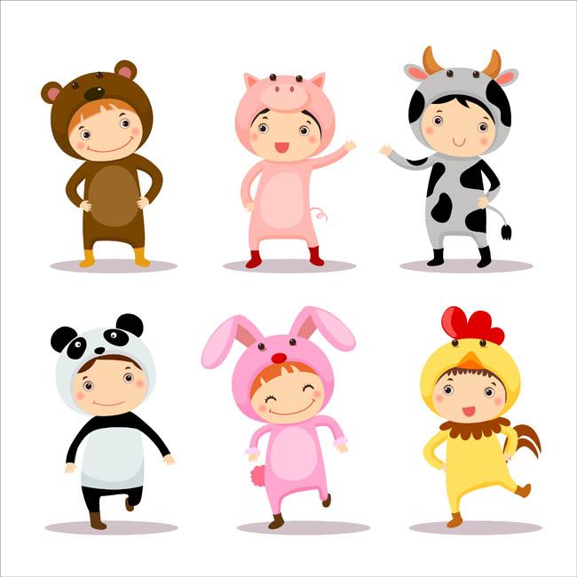 可爱动物卡通形象装扮的儿童形象_漫品购-mg动画制作