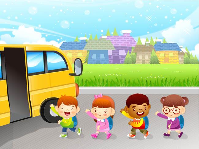去做校车回家情景  儿童放学校车图片素材矢量  卡通动漫儿童插画设计