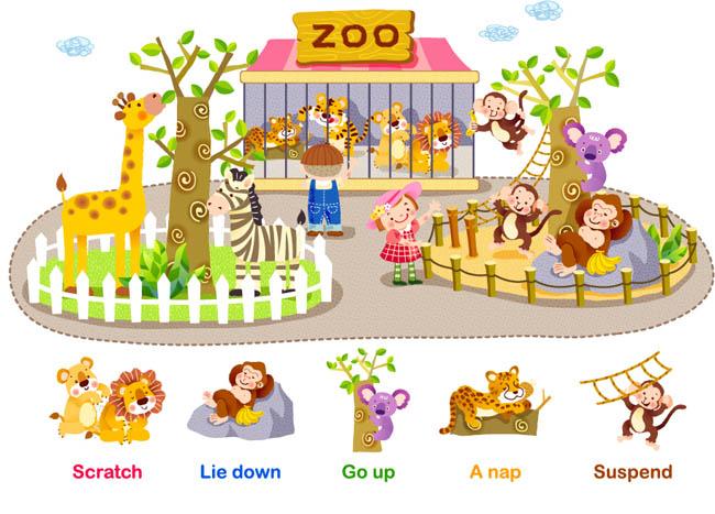 手绘可爱动物世界课件插画设计矢量素材_漫品购-mg--.
