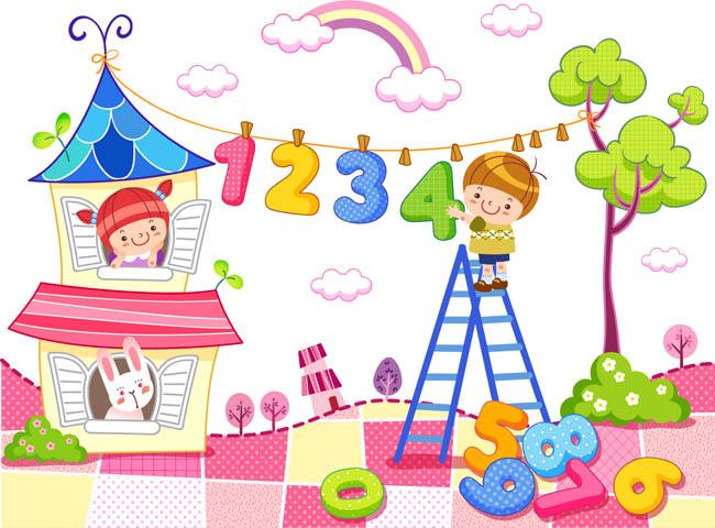 儿童数学教育数字设计手绘插画素材