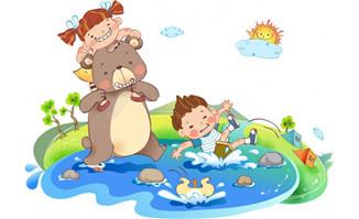 儿童过河的场景书籍插画