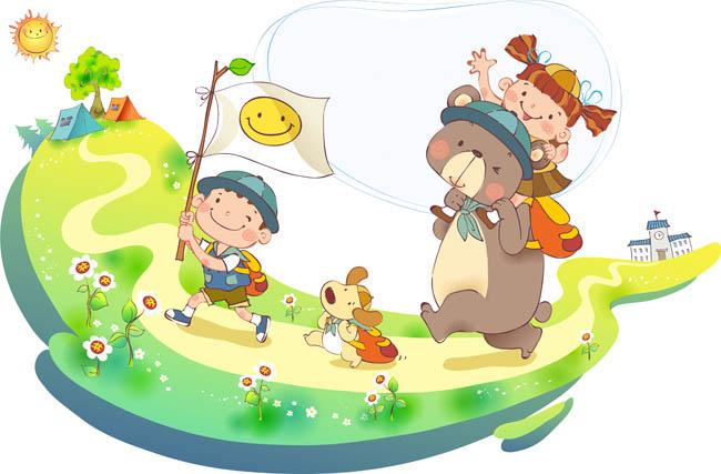 卡通儿童,可爱的动物,春游