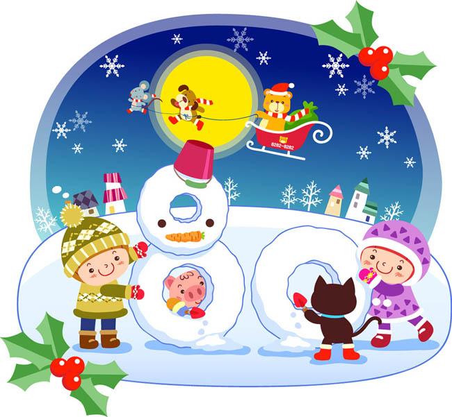 雪地里堆雪人创意数字80的造型设计图片