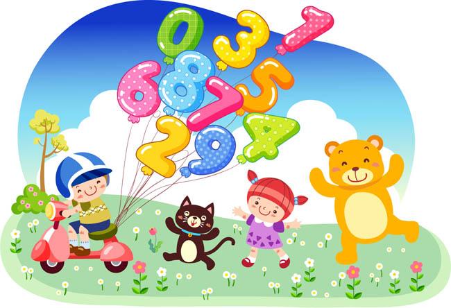 卡通儿童数字画数字气球矢量素材  动漫小动物形象设计   矢量卡通