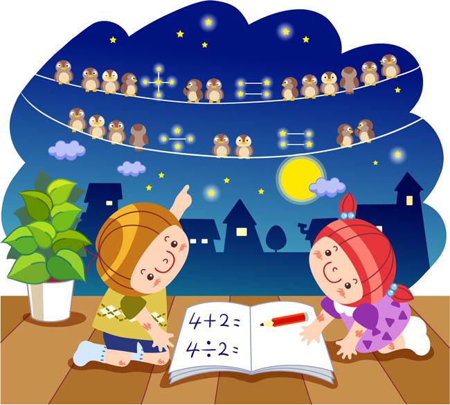 卡通儿童在学习数学的加减法插画设计图片