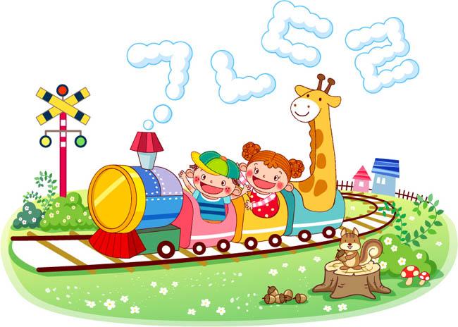 可愛的卡通動漫形象坐火車的插畫設計矢量素材