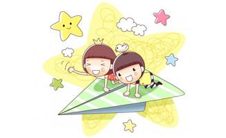 爬在纸飞机上飞行的卡通