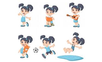 小女孩课余活动各种运动