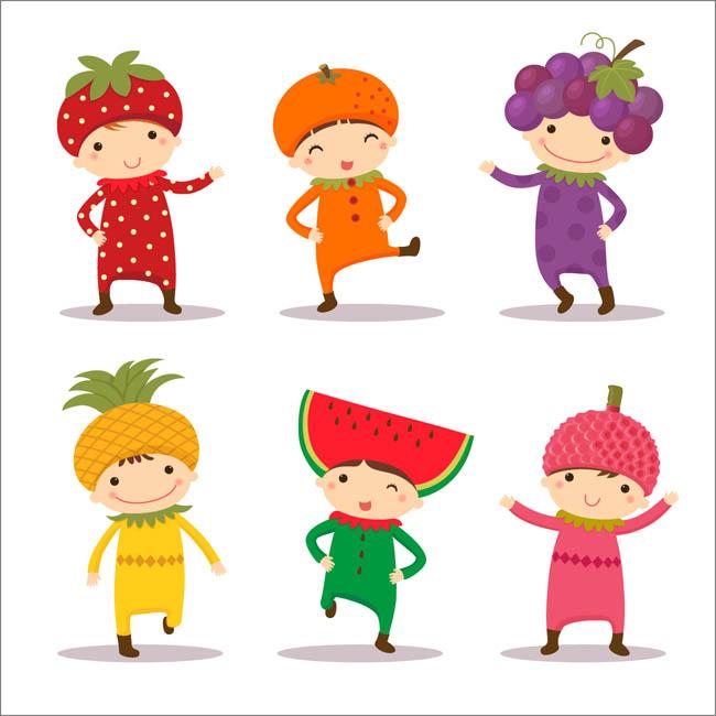 水果创意服装小朋友可爱形象设计矢量素材