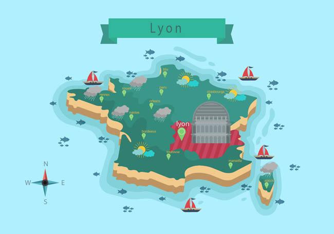 立体扁平化旅游地图设计素材