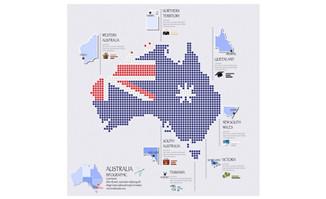 澳大利亚地图上显示的国