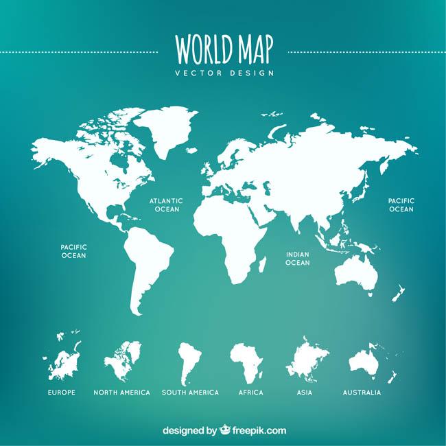 白色清晰的世界地图矢量素材下载