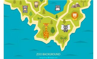 创意动物园地图设计复古