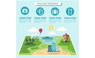 扁平化创意旅游地图旅游
