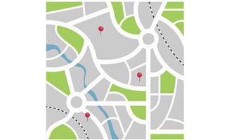 城市平面地图位置图标街