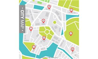 手机城市街区地图上的各