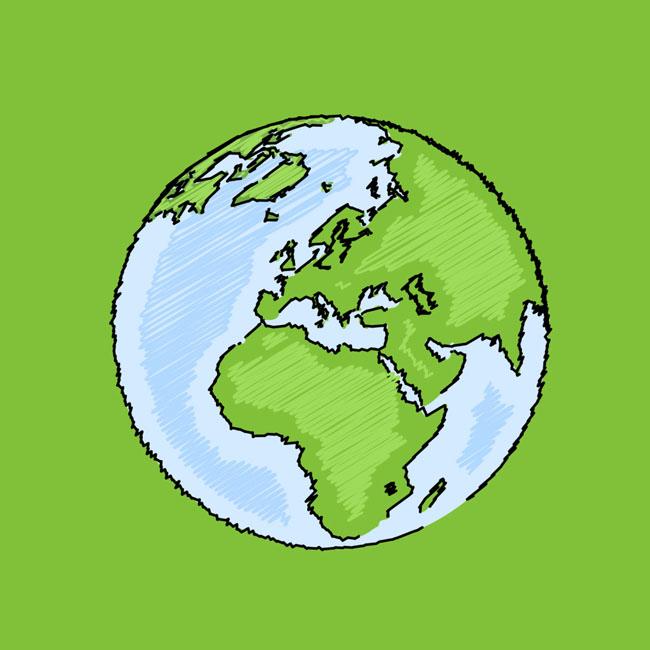 手绘线条地球地图设计矢量素材