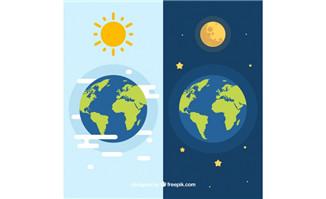 扁平化地球与太阳地球与