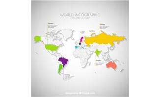各种色调的创意世界地图